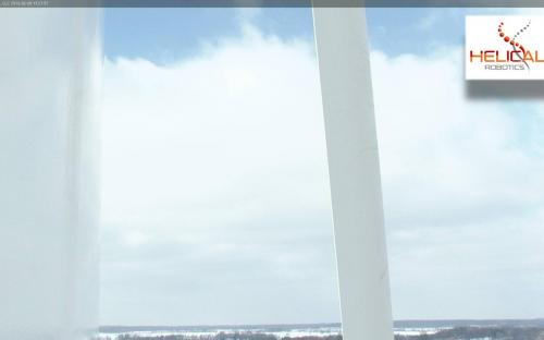 HD Video Photo of Liberty 2.5MW Wind Turbine Blade and Tower Surface While HR-MP20 is on Station.